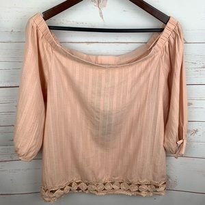 Greylin | Peach Akela Off Shoulder Crochet Hem Top